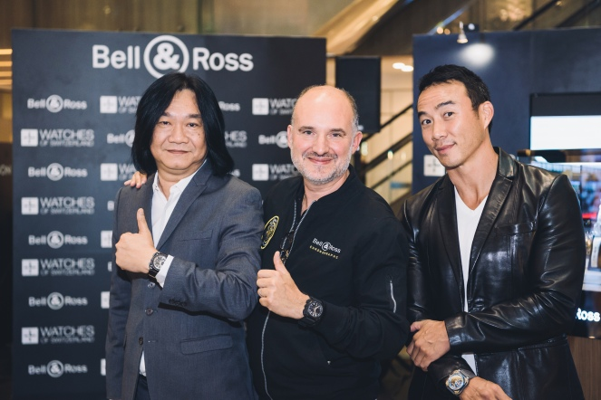 Mr Tong Chee Wei (GM Bell & Ross Asia), Mr Carlos Rosillo (CEO Bell & Ross), Allan Wu (Emcee)